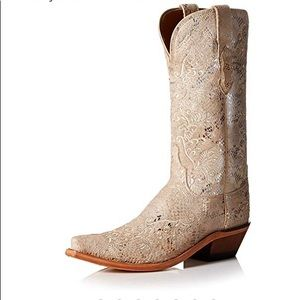 Lucchese Suede Embroidered Cowboy Boots